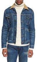 Tom Ford Denim Corduroy-Collar Jacket, Blue