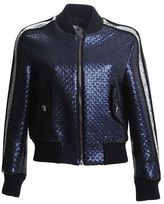 MSGM Navy And Silver Laminated Tweed Bomber Jacket