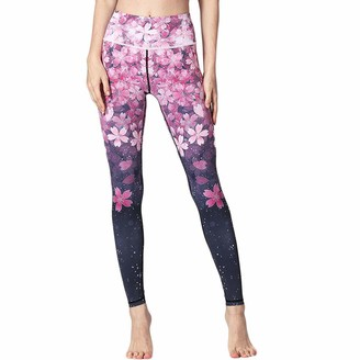 MINGGER Yoga Pants Womens Cropped Trousers Joggers Retro Printed High Waist Hips Stretch Leggings Running Gym Pink Blue