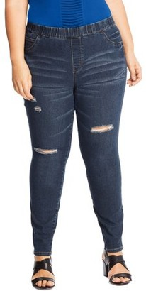 Just My Size Women's Plus Size Distressed Stretch Jeggings