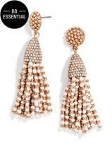 BaubleBar Mini Piñata Tassel Earrings-White/Rose Gold