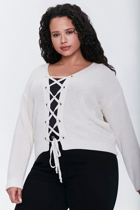 Forever 21 Plus Size Lace-Up Cardigan Sweater