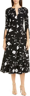 Oscar de la Renta Floral Split Sleeve Midi Dress