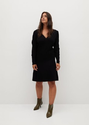 MANGO Lace v-neckline dress