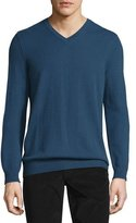 Vince Cashmere Long-Sleeve V-Neck Sweater, Heather Militia