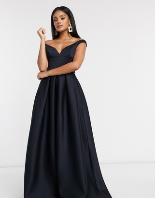 True Violet Black Label bardot prom maxi dress with pockets in navy