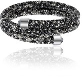 Bliss 18k White Gold Black/clear Crystal Coil Wrap Bracelet.