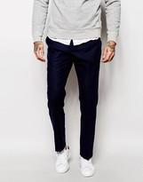 Asos Slim Wool Rich Suit Pants In Navy