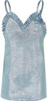 Jacquemus Ruffled Knitted Lamé Mini Dress - Sky blue
