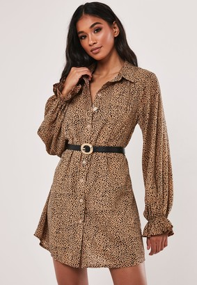 Missguided Stone Dalmatian Print Frill Cuff Shirt Dress