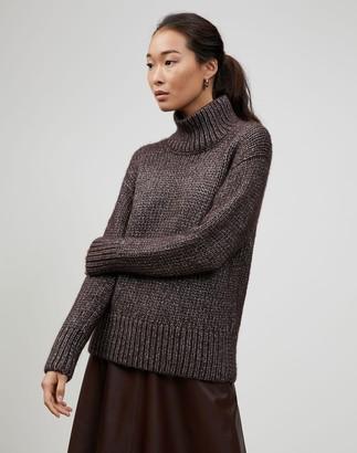 Lafayette 148 New York Plus-Size Italian Metallic Cashmere Lofty Turtleneck Sweater