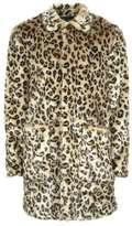 Topman Leopard Print Faux Fur Overcoat