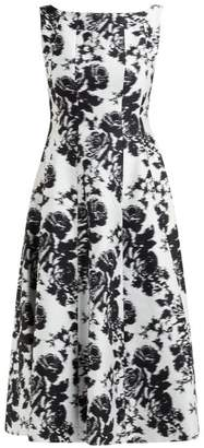 Erdem Kinsey Rosechine-jacquard Cotton-blend Midi Dress - Womens - Black White