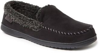 Dearfoams Men's Microfiber Suede Whipstitch Moccasin Slippers