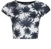 Select Fashion Fashion Womens Green Palm Print Crop Tee - size 14