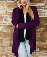 Celeste Purple & Black Color Block Flowy Open Front Cardigan - Plus
