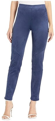 Karen Kane Faux Suede Moto Pants (Navy) Women's Casual Pants