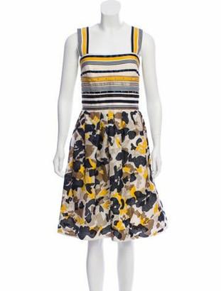 Oscar de la Renta Silk-Blend A-Line Dress Yellow
