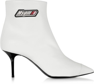 MSGM White Signature Ankle Boots