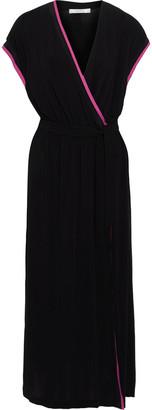 Max Mara Segovia Wrap-effect Silk-trimmed Stretch-jersey Midi Dress