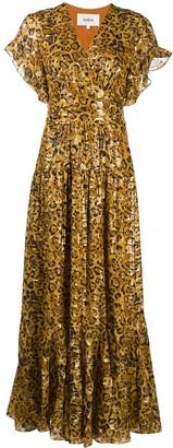 BA&SH Gemma leopard jacquard maxi dress