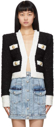 Balmain Black and White Collarless Blazer