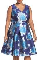 Eliza J Plus Size Women's Metallic Jacquard Fit & Flare Dress