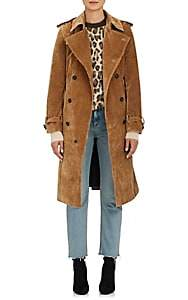 BEIGE VIS A VIS Women's Corduroy Double-Breasted Trench Coat - Beige, Tan