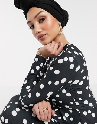 Verona long sleeved maxi dress in scattered spot