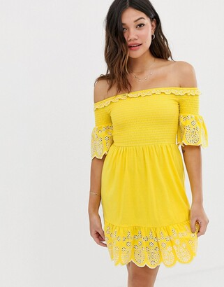 Asos Design DESIGN mini shirred top sundress with contrast embroidery-Yellow