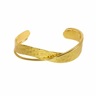 Ottoman Hands Double Line Hammered Gold Bangle