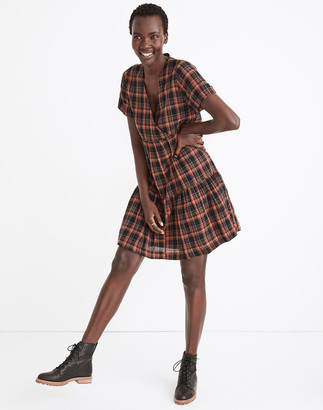 Madewell Plaid Faux-Wrap Short-Sleeve Tiered Mini Dress