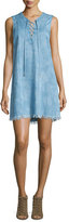 7 For All Mankind Sleeveless Lace-Up Denim Dress, Chambray