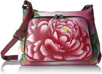Anuschka Anna By Anna by Women's Genuine Leather Medium Crossbody with External Credit Card Pocket | Hand Painted Original Artwork | Peacock Garden