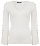 Mint Velvet Button Sleeve Jumper, Ivory