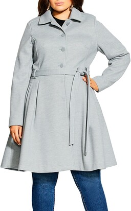 City Chic Blushing Belle Twill Coat with Faux Fur Collar