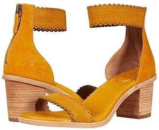 Frye Brielle Scallop Back Zip (Marigold Suede) Women's Shoes