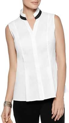 Misook Sleeveless Rhinestone-Trim Shirt