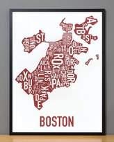 """Ork Posters Framed Boston Neighborhoods Map, Red & White, 18"""" x 24"""" in Black Frame"""