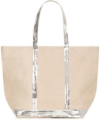 Vanessa Bruno Medium + Canvas And Sequins Cabas Tote Bag With Zip