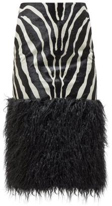 Saint Laurent Zebra Print Calf Hair Skirt - Womens - Black White