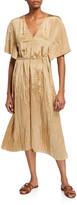 Vince V-Neck Short-Sleeve Textured Midi Dress