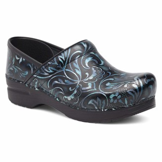 Dansko Women's Professional Blue Damask Patent Clogs 11.5-12 M US