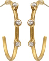 Yossi Harari Three White Diamond Jane Hoop Earrings