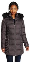 Kenneth Cole Women's Chevron Side Panel Down Coat with Faux Fur-Trim Hood