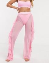 Asos Design DESIGN jersey sheer mesh frill beach pants in dolly pink