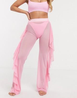 Asos DESIGN jersey sheer mesh frill beach pants in dolly pink