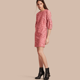 Burberry Puff-sleeved Floral Lace Shift Dress