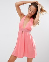 Asos Jersey Ruched Halter Mini Beach Dress