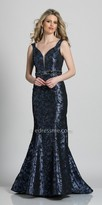 Dave and Johnny Shimmering Cut Out Back Beaded Evening Dress